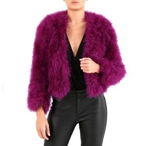 Forever Unique London Cropped Feather Jacket